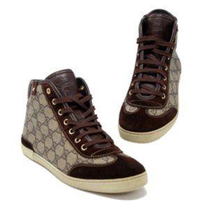 Gucci Brown Monogram Hightop Sneakers